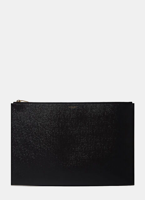 Grain Leather Zipped Document Wallet