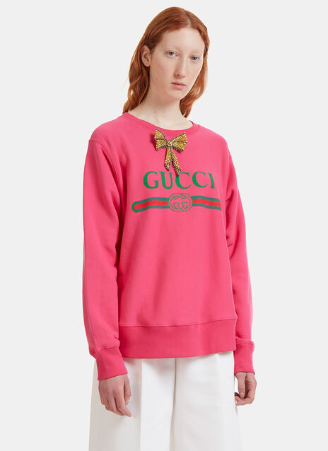 Gucci Print Sequin Bow Crew Neck Sweater