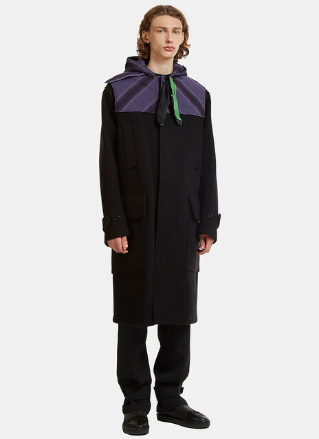 Oversized Homespun Neck Tied Duffle Coat