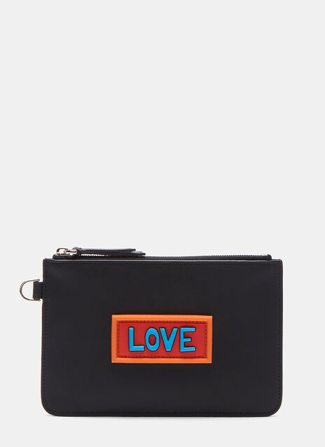 Rubberised Love Patch Leather Wallet