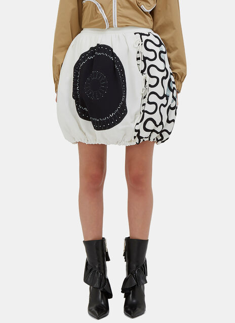 Squiggle Print Quilted Balloon Skirt