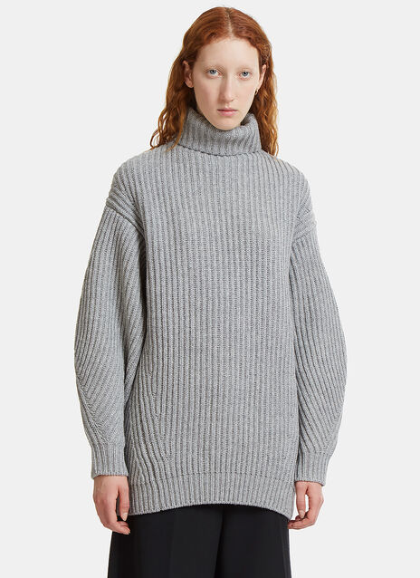 Isa Oversized Ribbed Knit Roll Neck Sweater