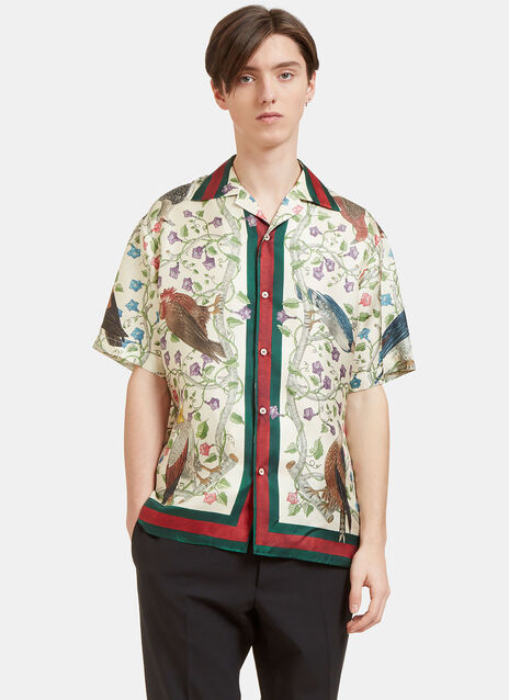 Floral Bird Print Short Sleeved Shirt
