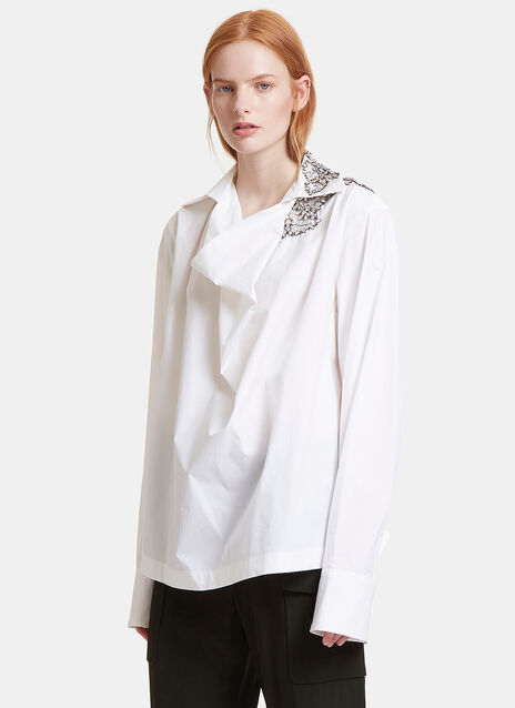 Crystal Embellished Draped Shirt