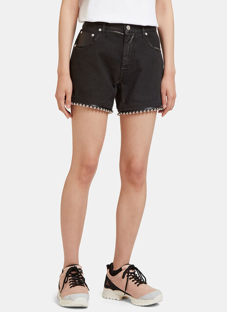 Ball Chain Studded Denim Shorts