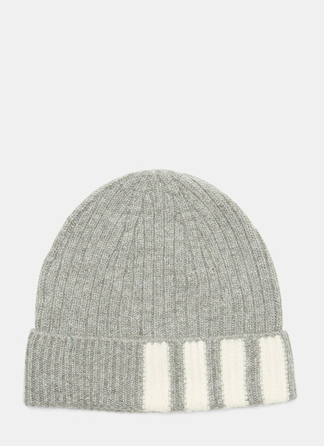 4 Bar Stripe Ribbed Beanie Hat