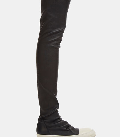 Thigh-High Leather Stocking Sneakers
