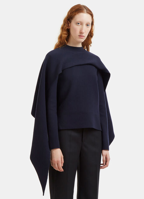 Asymmetric Draped Cape Sweater
