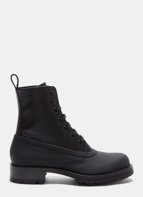 Rubber Lined Lace-Up Ankle Boot