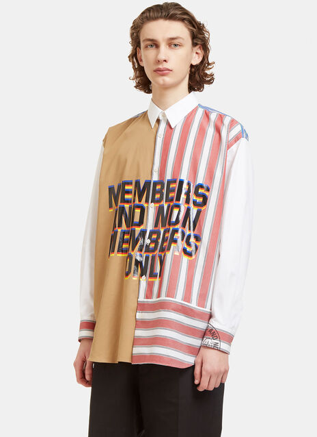 Oversized Members Print Striped Patchwork Shirt