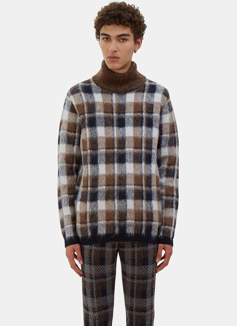 Checked Hairy Knit Roll Neck Sweater