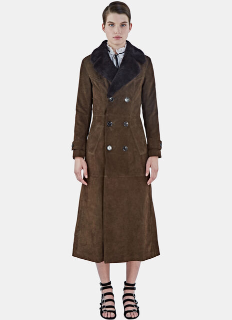Long Suede Shearling Trench Coat