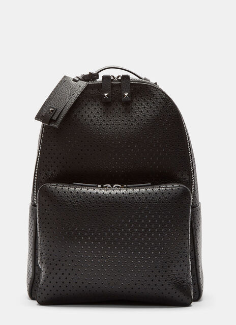 Perforated Grained Leather Backpack