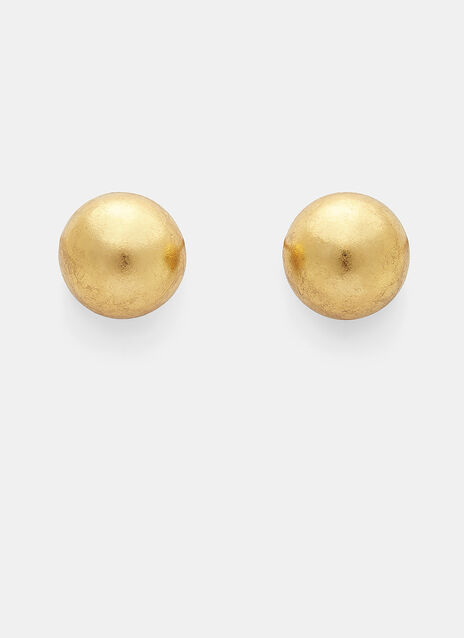 7784 Gold Leaf Painted Sphere Clip-On Earrings