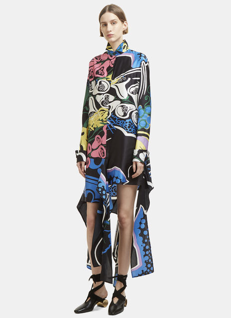 Foxglove Print Ribbon Shirt Dress