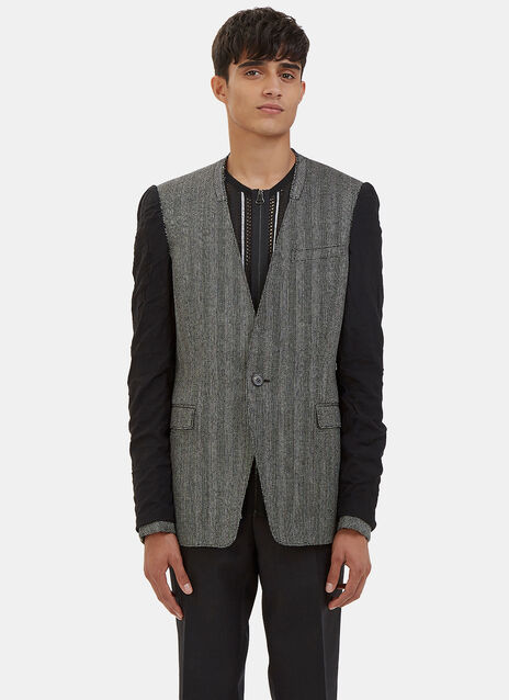 Deconstructed Inside-Out Sleeved Micro Tweed Blazer Jacket