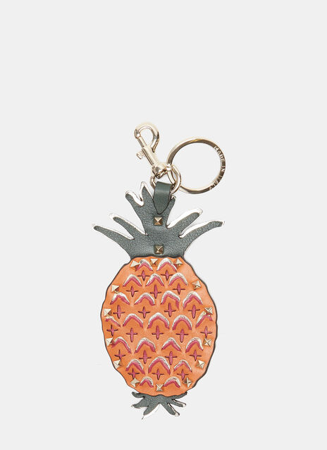 Pyramid Studded Leather Pineapple Keyring