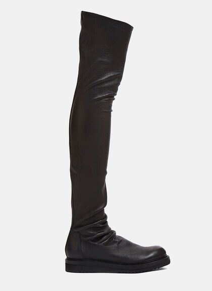 Image of Creeper Thigh-High Leather Boots