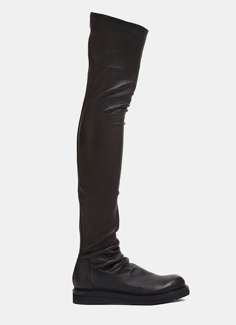 Creeper Thigh-High Leather Boots