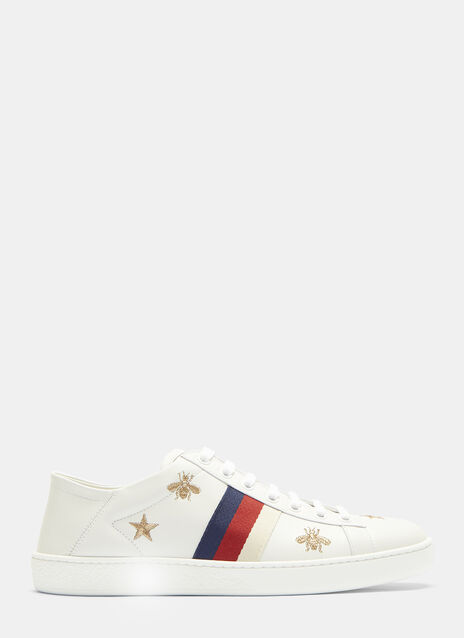 Ace Bee and Star Embroidered Sneakers