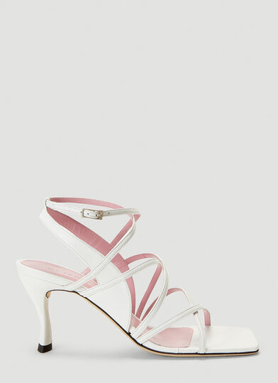 By FAR Christina Leather Heeled Sandals in White
