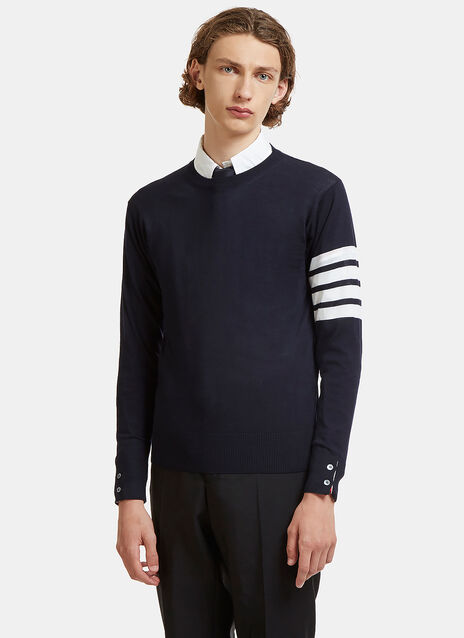 4 Bar Striped Merino Wool Sweater