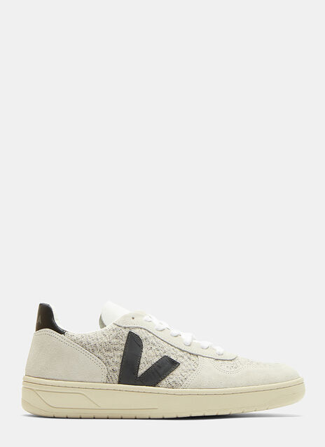 V10 Flannel Panelled Suede Low-Top Sneakers