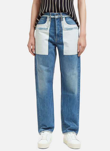 Reverse Patch Pocket Straight Leg Boyfriend Jeans