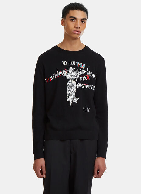 Jamie Reid Intarsia Graphic Crew Neck Sweater