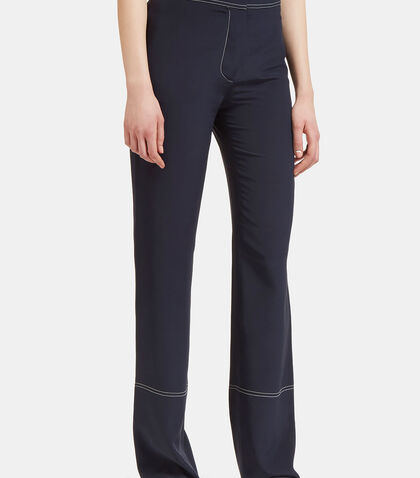 Contrast Stitched Straight Leg Pants