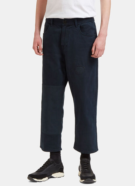 Patched Straight Leg Denim Pants