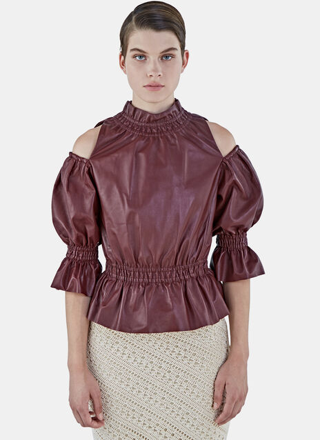 Off-The-Shoulder Ruffled Leather Top