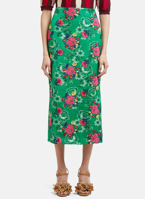 Marni Floral Embroidered Jacquard Skirt