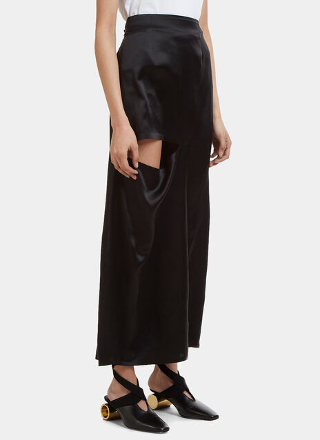 JW Anderson Straight Cut-Out Silk Skirt