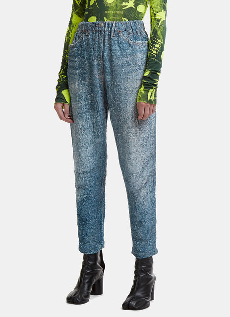Textured Fake Jeans