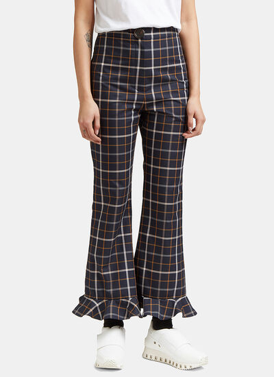 Jellycheck Frill Flared Pants