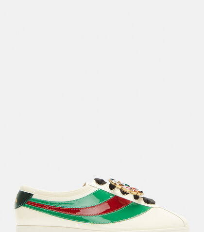 Falacer Jewelled Patent Web Sneakers in Beige