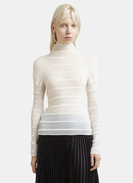 Issey Miyake Crimped Long Sleeved Mock Neck Top