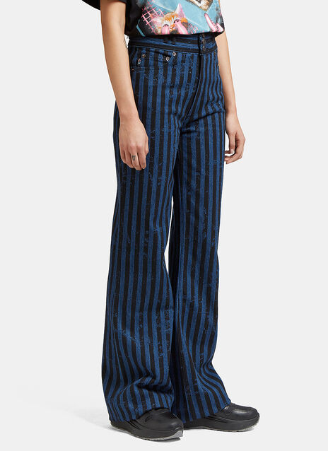 Striped Flared Leg Star Jeans