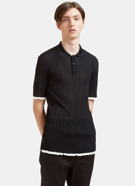 Raw-Edged Rib Polo Shirt
