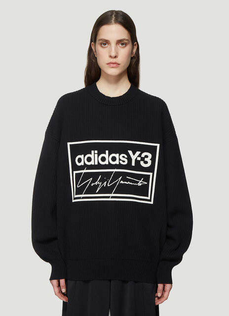 Y-3 Logo Ribbed Knit Crew Neck Sweater