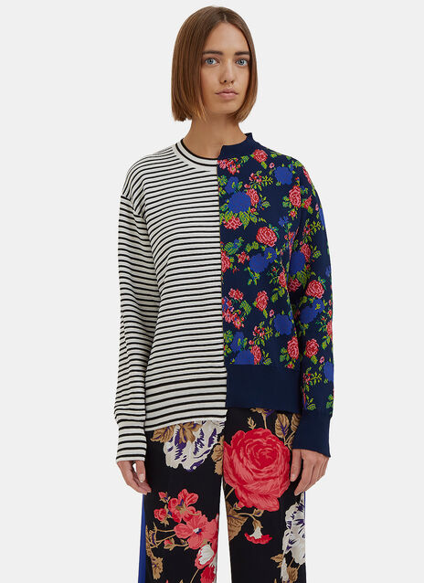 Reworked Floral Striped Sweater