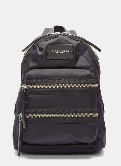 Mini Biker Double Zipped Backpack in Black