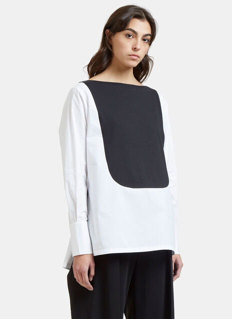 Mini Contrast Bib Boat Neck Top