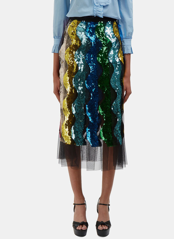 Gucci Sequin Waved Tulle Pleat Skirt
