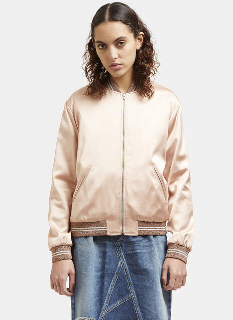 Love Patch Satin Bomber Jacket