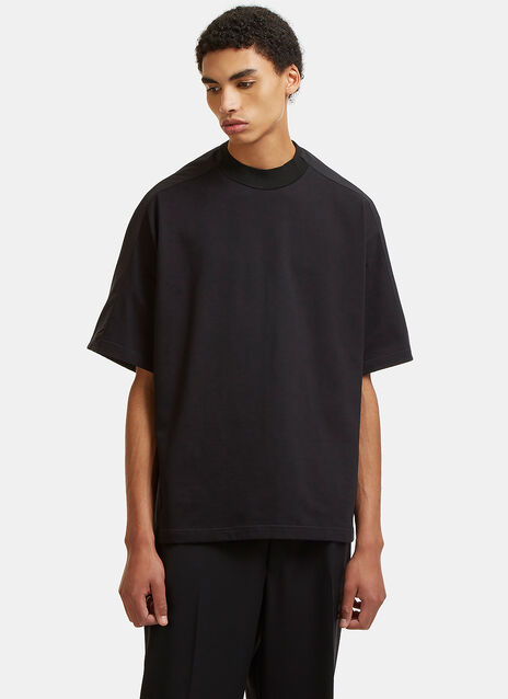 Contrast Sleeved Mock Neck T-Shirt