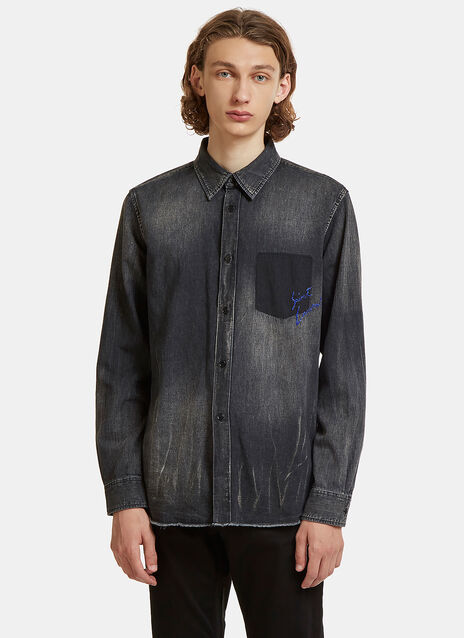 Logo Embroidered Denim Shirt