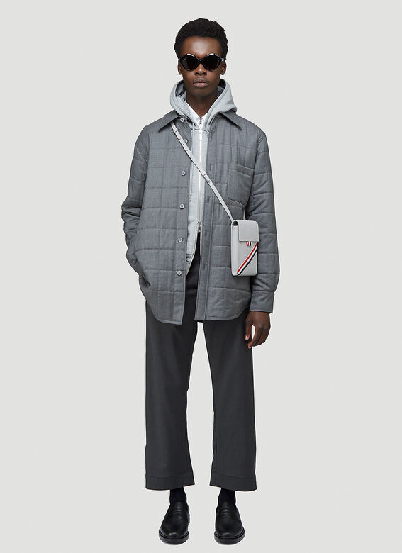 Thom Browne HOODIE ZIP-UP PULLOVER IN CLASSIC LOOPBACK WITH CENTER-BACK RWB STRIPE 2