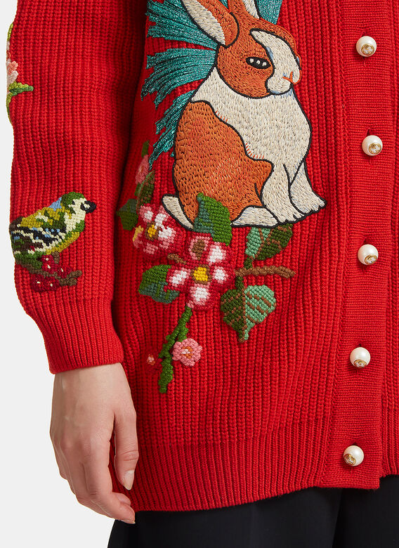 Gucci Oversized Embroidered Rabbit Knit Cardigan
